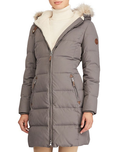 Lauren Ralph Lauren Ods Down Faux Shearling Walker Jacket-GREY-Small