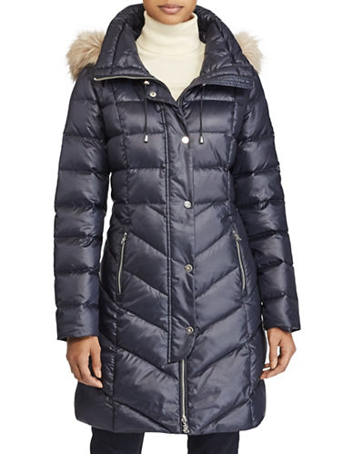 Lauren Ralph Lauren Faux Fur Trim Quilted Coat-NAVY-X-Small