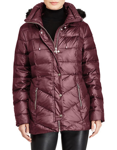 Lauren Ralph Lauren Faux Fur Trim Quilted Coat-BURGUNDY-X-Small