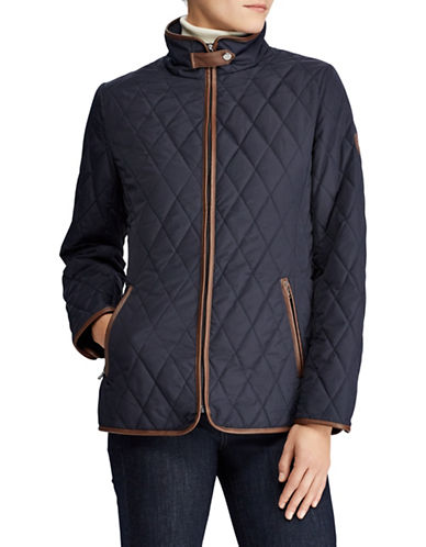 Lauren Ralph Lauren Quilted Mock Neck Jacket-DARK NAVY-Medium
