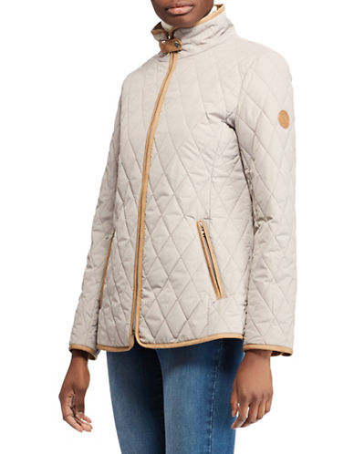 Lauren Ralph Lauren Quilted Hooded Jacket-GREY-Small
