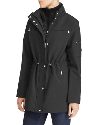 Lauren Ralph Lauren Mock Neck Drawcord Coat-BLACK-Small