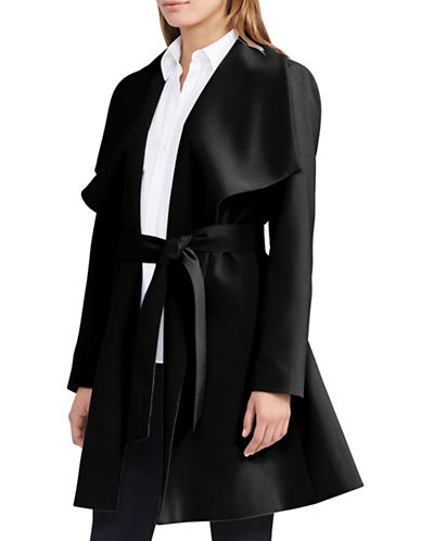 Lauren Ralph Lauren Crepe Open-Front Coat-BLACK-X-Large