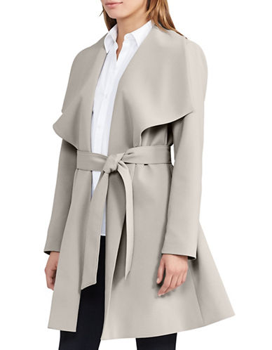 Lauren Ralph Lauren Crepe Open-Front Coat-GREY-X-Large