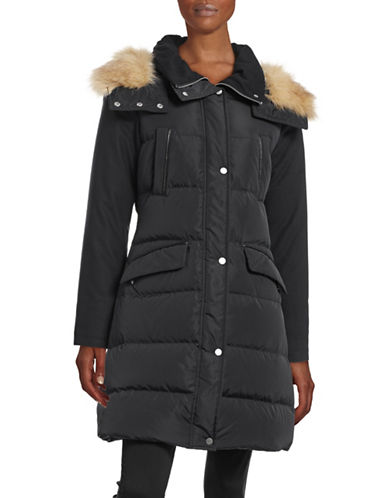 French Connection Wool-Sleeve Faux Fur Hooded Parka-BLACK-Large 88397186_BLACK_Large