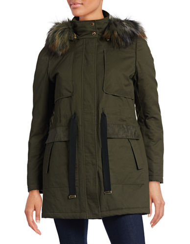 French Connection Faux Suede Accent Hooded Parka with Faux Fur Trim-GREEN-Medium