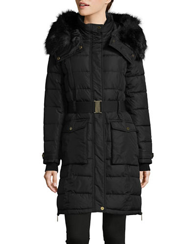French Connection Belted Box Quilt Coat with Faux Fur Hood-BLACK-X-Small