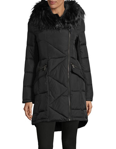 French Connection Faux-Fur Trim Coat-BLACK-Medium