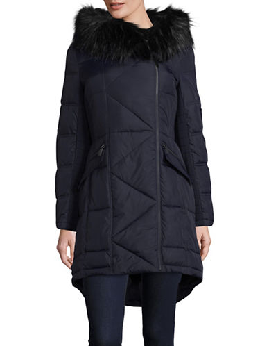 French Connection Faux-Fur Trim Coat-BLUE-Medium