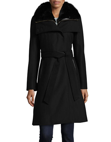 French Connection Collared Wool-Blend Coat with Detachable Gilet-BLACK-4