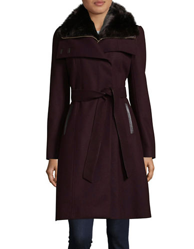 French Connection Collared Wool-Blend Coat with Detachable Gilet-WINE-12