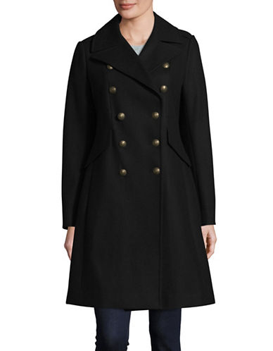 French Connection Wool-Blend Long Military Coat-BLACK-2