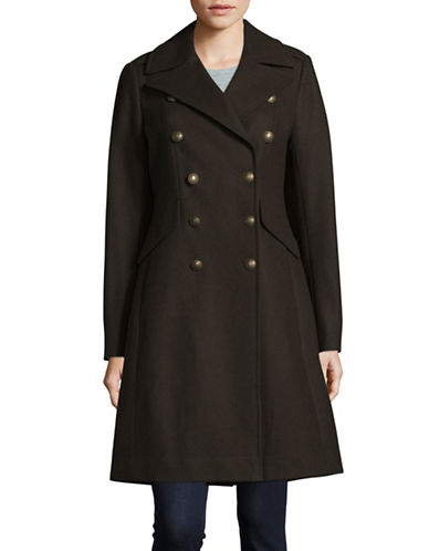 French Connection Wool-Blend Long Military Coat-GREEN-10