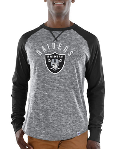 Majestic Oakland Raiders Raglan Tee-BLACK-Large