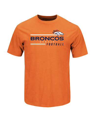 Majestic NFL Denver Broncos Line of Scrimmage  T-Shirt-ORANGE-X-Large