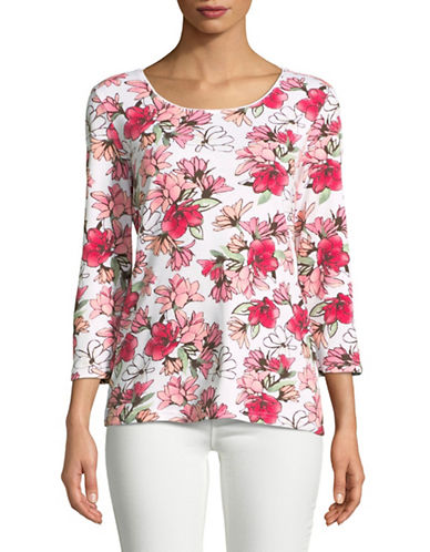 Karen Scott Petal-Print Three-Quarter Top-PINK-X-Large