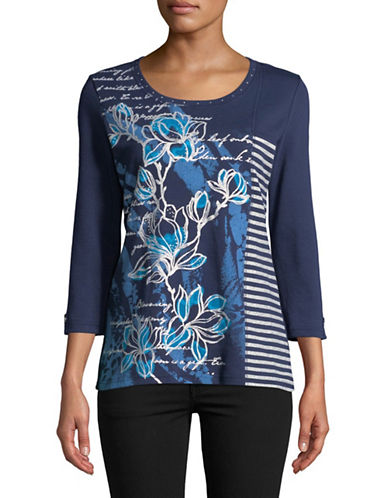 Karen Scott Luxe Legend Top-BLUE-X-Large