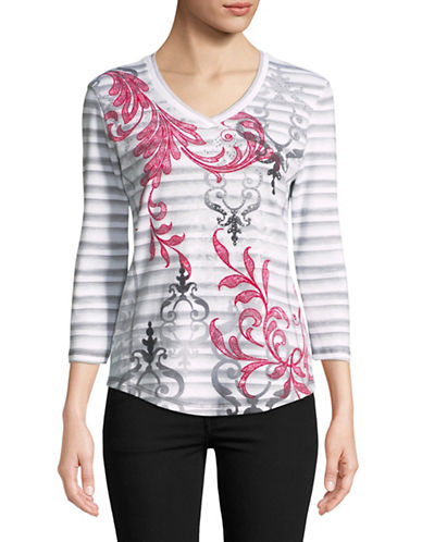 Karen Scott Baroque Striped Top-MULTI-Medium