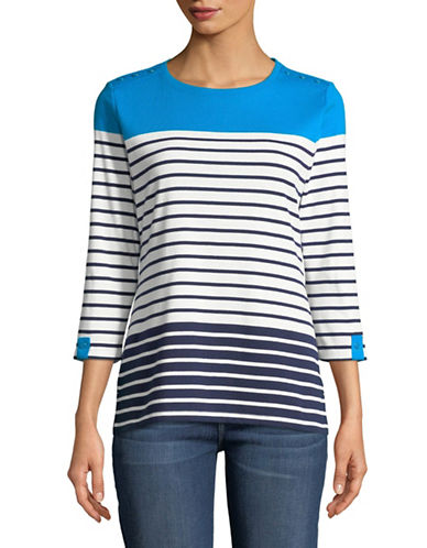 Karen Scott Sam Striped Three-Quarter Sleeve Top-BLUE-X-Large