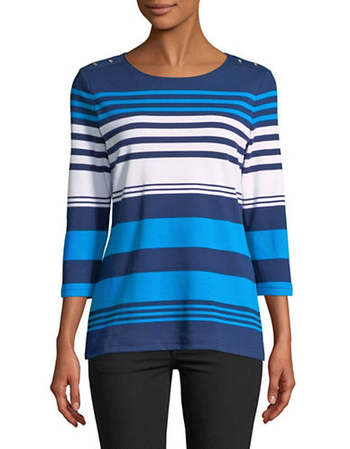 Karen Scott Striped Three-Quarter Sleeve Top-BLUE-Small