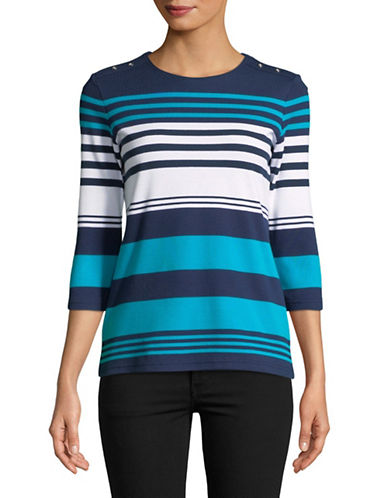 Karen Scott Petite Sophia Striped Top-BLUE-Petite X-Small