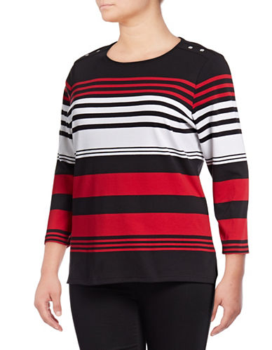 Karen Scott Plus Striped Three-Quarter Sleeve Top-BLACK-3X