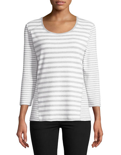 Karen Scott Emily Three Quarter Striped Tee-GREY-Large