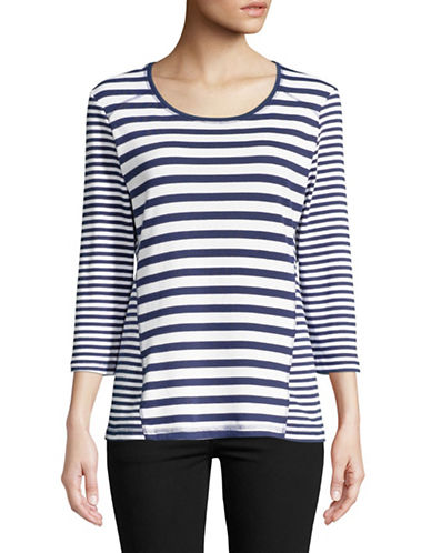 Karen Scott Petite Emily Three Quarter Striped Tee-BLUE-Petite Small