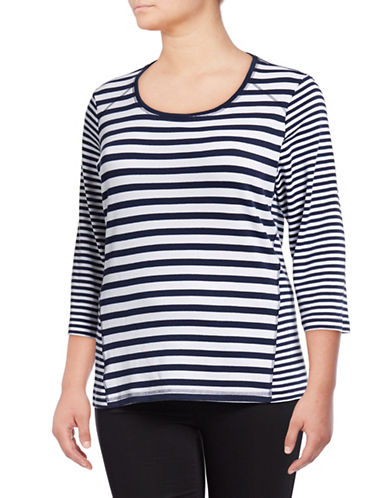 Karen Scott Plus Emily Three Quarter Striped Tee-BLUE-3X