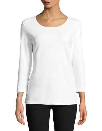 Karen Scott Three-Quarter Cotton Top-WHITE-Medium