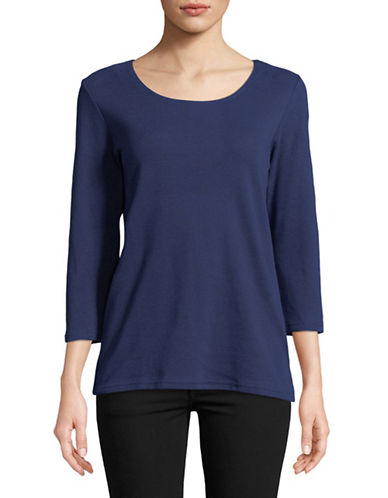 Karen Scott Three-Quarter Cotton Top-NAVY-Medium