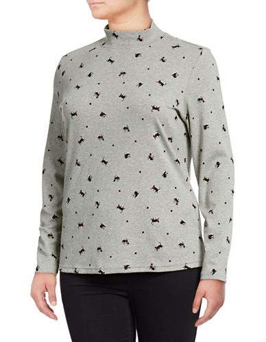 Karen Scott Plus Kitty Print Top-GREY-1X