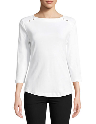 Karen Scott Three-Quarter Sleeve Cotton Top-WHITE-X-Large
