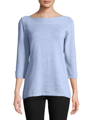 Karen Scott Cotton Boat Neck Pullover-BLUE-Small