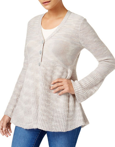 Style And Co. Petite Petite Long Bell Sleeve Cardigan-GREY-Petite Large