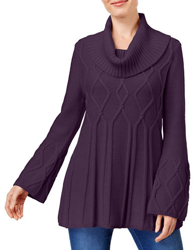 Style And Co. Relaxed Tunic-PURPLE-Medium