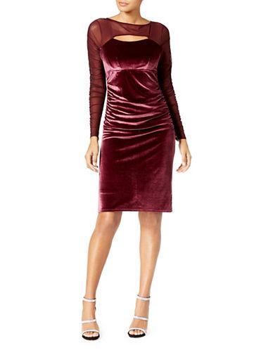 I.N.C International Concepts Velvet Cutout Illusion Sheath Dress-RED-Small