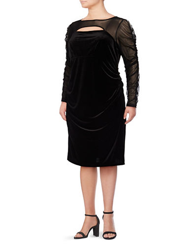 I.N.C International Concepts Plus Velvet Cutout Long Sleeve Dress-BLACK-3X