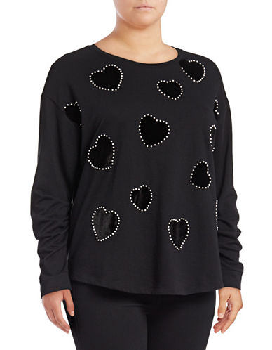 I.N.C International Concepts Plus Velvet Heart Sweatshirt-BLACK-1X