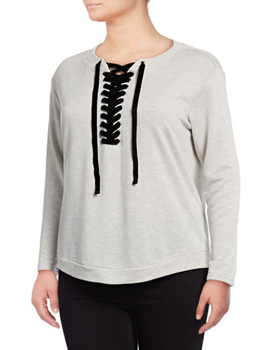 I.N.C International Concepts Plus Lace-Up Sweatshirt-GREY-3X