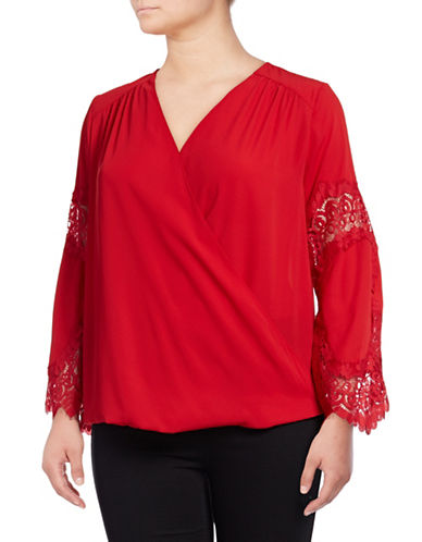 I.N.C International Concepts Plus Lace Inset Blouse-RED-1X