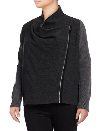 I.N.C International Concepts Plus Waffle Zip Wool Jacket-MED GREY-1X