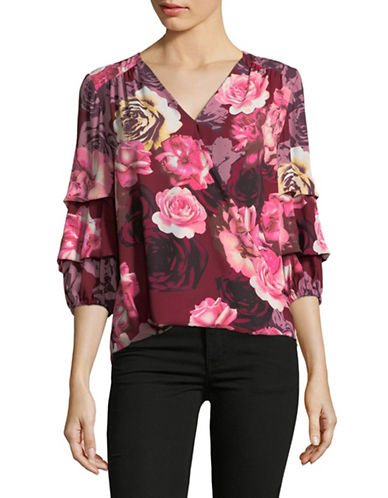 I.N.C International Concepts Petite Floral Tucked Sleeve Blouse-RED-Petite Medium