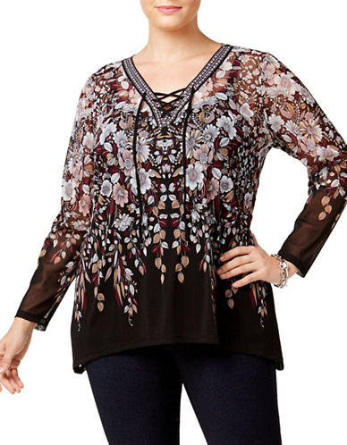 I.N.C International Concepts Petite Lace Up Tunic-BROWN-Petite Small