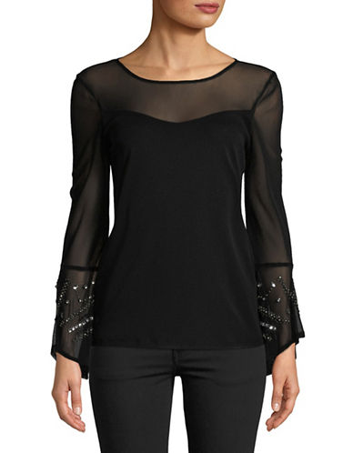 I.N.C International Concepts Petite Embellished Bell-Sleeve Top-BLACK-Petite Small