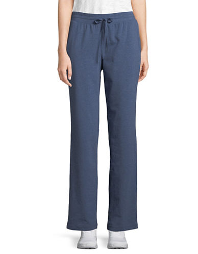 Karen Scott Drawstring Knit Pants-BLUE-Medium