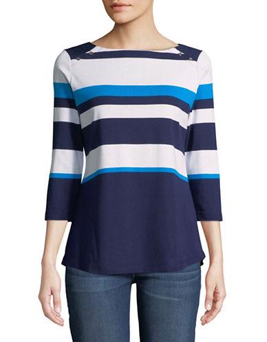 Karen Scott Striped Three-Quarter Sleeve Top-BLUE-Medium
