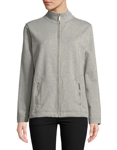 Karen Scott French Terry Zip-Front Jacket-GREY-Large