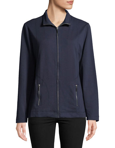 Karen Scott French Terry Zip-Front Jacket-BLUE-Large