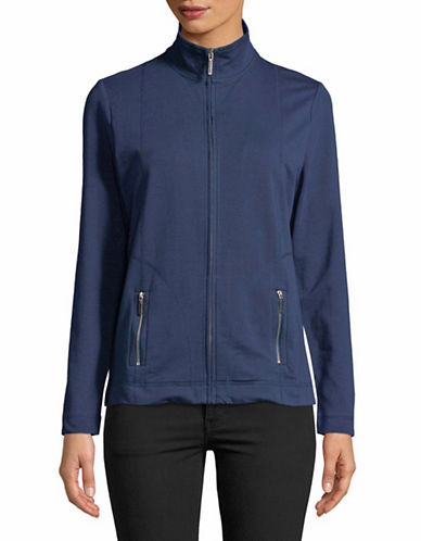 Karen Scott Petite Full-Zip Mock Neck Jacket-BLUE-Petite Small